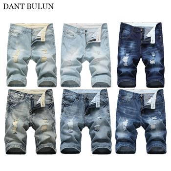 Summer Mens Denim Shorts Jeans Ripped distressed Denim Shorts Slim Fit Knee Length Shorts Jeans Vintage Mens Shorts Clothing roll up ripped denim shorts