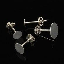 20 pçs 925 brincos de prata esterlina configurações 3/4/5/6/8mm em branco base redonda para cabochon parafuso prisioneiro brinco orelha plana pós prata pura