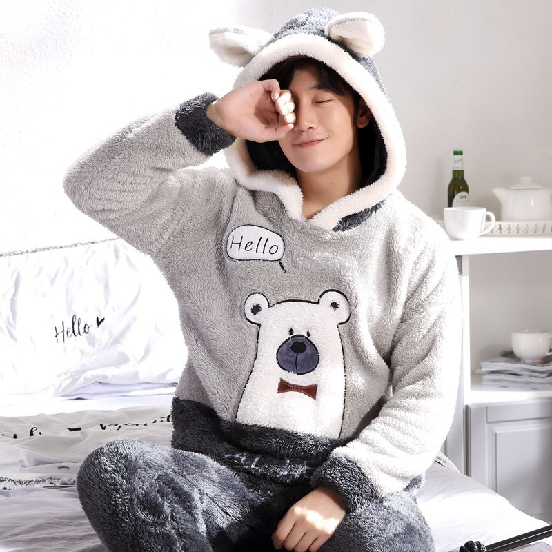 Autumn And Winter Thick Flannel Couple Pajamas Long-Sleeved Plush Men And Women Warm Home Service Cartoon Suit