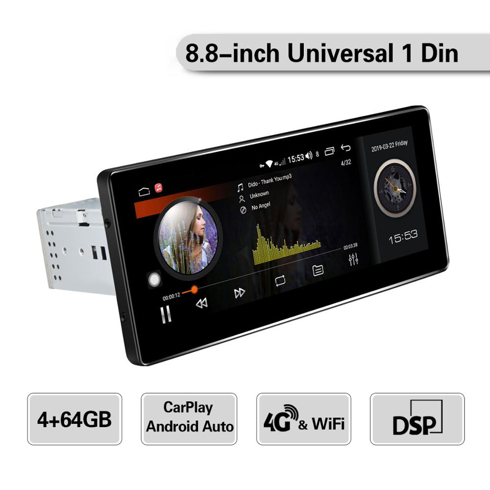 8.8 Inch IPS Screen Android 8.1 Single Din Car Radio Player Octa Core 4GB Ram+64GB Rom Built In 4G&DSP Module GPS Stereo Audio