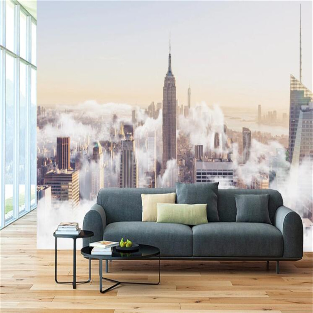Milofi custom 3D large mural modern minimalist abstract hand-painted city cloud sea landscape TV background wall paper