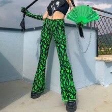 Harajuku מכנסיים להבת דפוס ירוק אופנה אלסטי מותניים התלקחות מכנסיים ארוך מכנסיים Streetwear עבור נשים הברנש רחוב גבוה