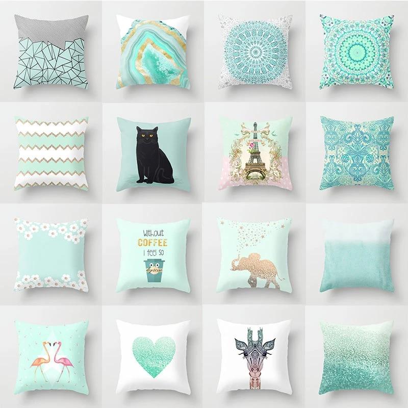 2020 mint green pillow cover geometric print cushion covers pillow case sofa cushion cover 45 45cm decorative throw pillows case