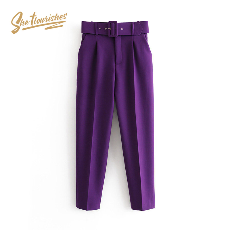 Sheflourishes Womens Purple Pants Trousers High Waist Belt Office Suit Pants Female Casual Pocket Pants Khaki Yellow Black SFA1b