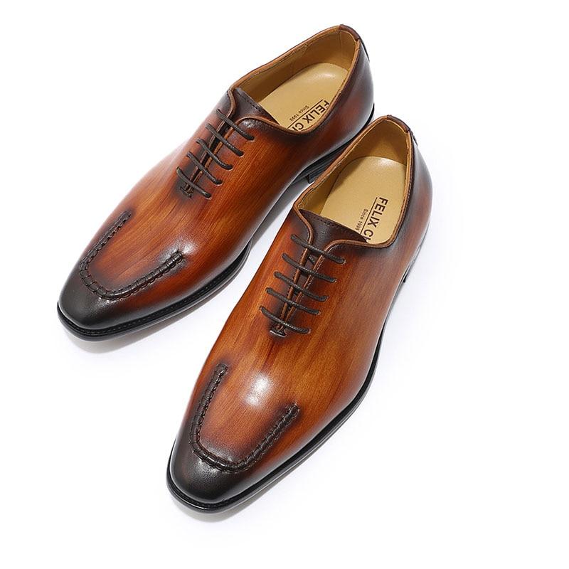 FELIX CHU Brand U Ontwerp Heren Oxford Lederen Hele Cut Lace Up mannen Formele Schoenen Bruiloft Kantoor jurk Schoenen-in Formele Schoenen van Schoenen op  Groep 3