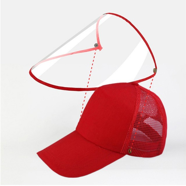 Detachable Anti-Saliva Protective Hat Cover Outdoor Baseball Hat Adjustable Unisex Peaked Cap Protective Face Shield Cover