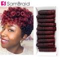 Самкоса 6 дюймов короткие кудрявые весенние крючком косички для женщин 20 корней/упаковка синтетические косички для наращивания волос