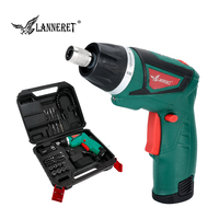 LANNERET 7.2V Electric Cordless Screwdriver Household Rechargeable Power Drill Screw Guns with LED Light