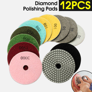 Image 2 - Juego de 12 herramientas abrasivas de 4 /100mm, almohadillas de pulido de diamante en seco y húmedo, amoladora de disco de lijado para piedra de granito, pulidor de mármol y hormigón