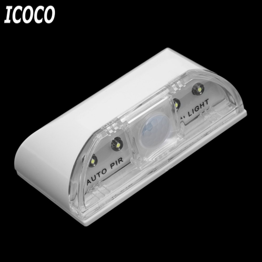 ICOCO 1pcs 4 <font><b>LED</b></font> PIR Infrared Detection Motion Sensor Home Door Keyhole Light Lamp Beads for Door Stairway Bedroom Hallway Sale image