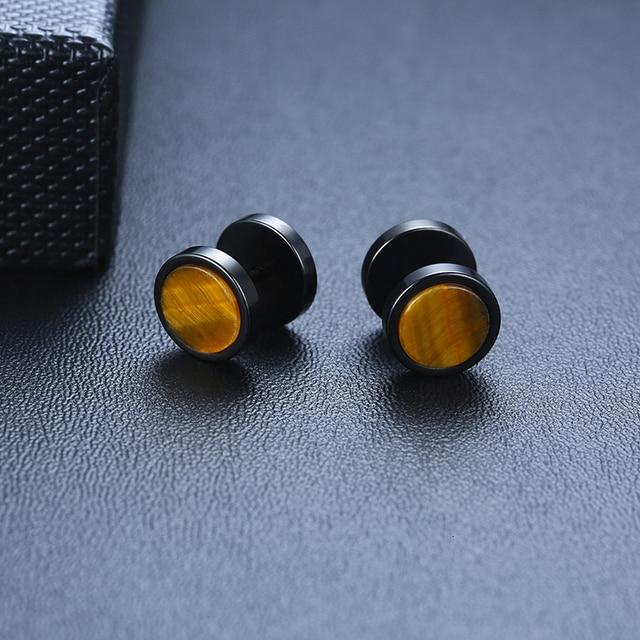 MENS SCREW STUD RETRO TIGEREYE STONE EARRING STAINLESS STEEL PLUG BARBELL EARRINGS STUDS PAIR OF 10MM.jpg 640x640 - MENS SCREW STUD RETRO TIGEREYE STONE EARRING STAINLESS STEEL PLUG BARBELL EARRINGS STUDS (PAIR OF) 10MM