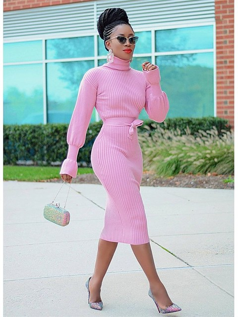 WJFZQM Turtleneck Basic Ribbed Knitted Sweater Dress Autumn Ruffles Sleeve Sashes Midi Sexy Bodycon Winter Office Pink Dresses 3