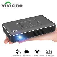 Vivicine p10 mini projetor 4k  android 6.0 bluetooth  bateria de 4100mah  projetor de bolso para celular hdmi  usb  pc  jogos  projetor beamer