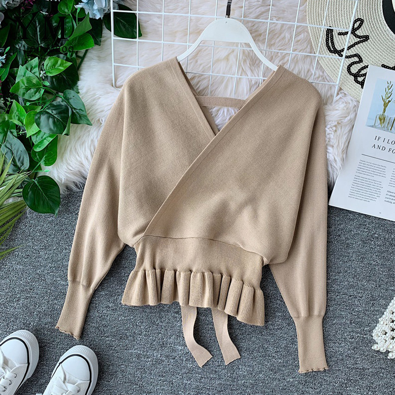 YuooMuoo Elegant V Neck Ruffle Sweater Women Fashion Batwing Sleeve Pullover Jumper Knitted Autumn Sweater Ladies Office Sweater