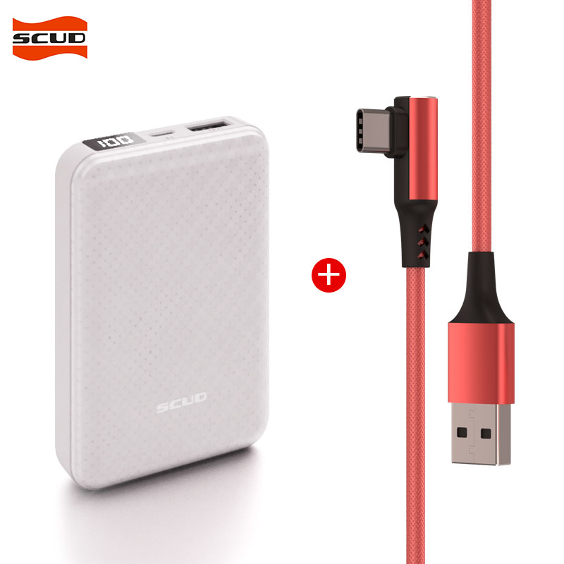 SCUD <font><b>10000</b></font> mAh one USB External Battery Charger Portable LCD Power bank+1M Type-C USB data cable for Xiaomi Mi Huawei oppo vivo image