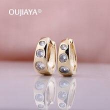 Женские серьги подвески oujiaya роскошные простые круглые зеленого