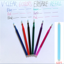 Caneta apagável artigos de papelaria reenchimento fricção gel caneta material de escritório desenho fricção recarga caneta estudante 6 cores 0.7mm caneta borracha