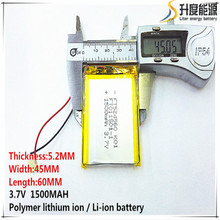 2 шт. [SD] 3,7 в, 1500 мАч, [524560] полимерный литий-ионный/литий-ионный аккумулятор для игрушек, банка питания, gps, mp3, mp4, сотового телефона, динамика