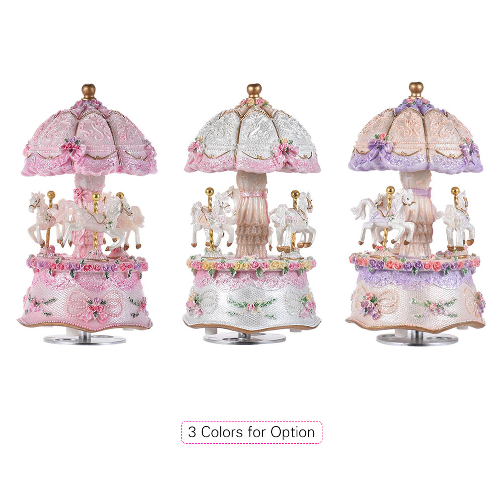 EXQUISITE Musical Carousel 3 Horse Baby Shower Christening Birthday Gift Carrousel Music Box Ballerina Music Box Vintage