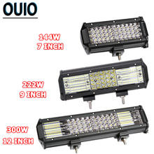 купить 4-rows LED Light Bar 72W 300W Offroad Work Light for 4WD Truck SUV ATV Boat 4 7 9 12 inch  Spot Flood Car Lights 12V 24V Lamp дешево