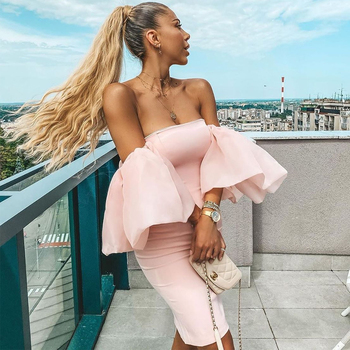 Ocstrade Elegant Sexy Off Shoulder Bodycon Dress 2020 New Arrival Women Puff Sleeve Pink Evening Party