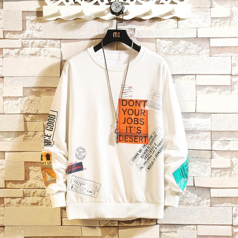 Dropshipping Korean Harajuku Men Swearshirts Hip Hop Oversize Man Hoodies 2020 Autumn Cotton Warm Black Sweatshirts