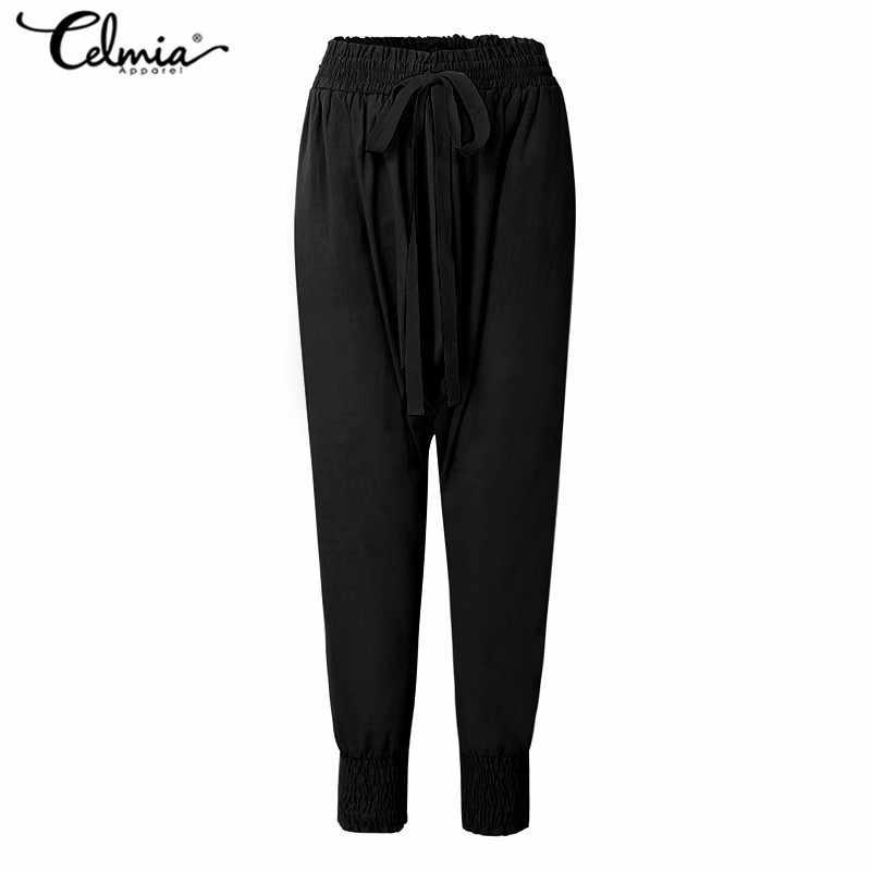 Vintage Casual Elastische Taille Losse Broek Vrouwen 2020 Zomer Solid Harembroek Dames Elegant Streetwear Pantalon Femme Bodems
