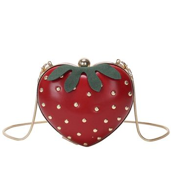 Women's Crossbody Shoulder Handbag Fruit Style Clutch Girl's Cute Strawberry Shaped Bag Satchel Purse 517D novelty flamingo shaped crossbody bag