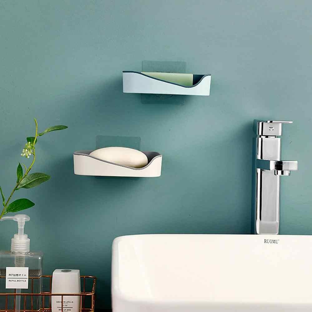Mydło Box potężne bez szwu wklej spustowy podwójne łazienka półka ssania ściany pudełko na mydło pojemnik na naczynia mydelniczka