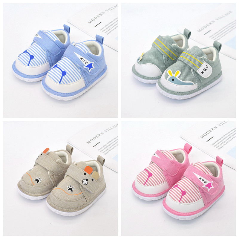 0-2 Years Old Baby Boys Girls Cartoon Printed Non-Slip First Walkers Kids Toddlers Flat Shoes Newborn Cotton Prewalker
