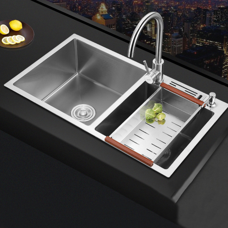 Customizable 304 Stainless Steel Handmade Sink Double Sink Kitchen Thick Multi-functional Washing Basin Sink Pool Combo