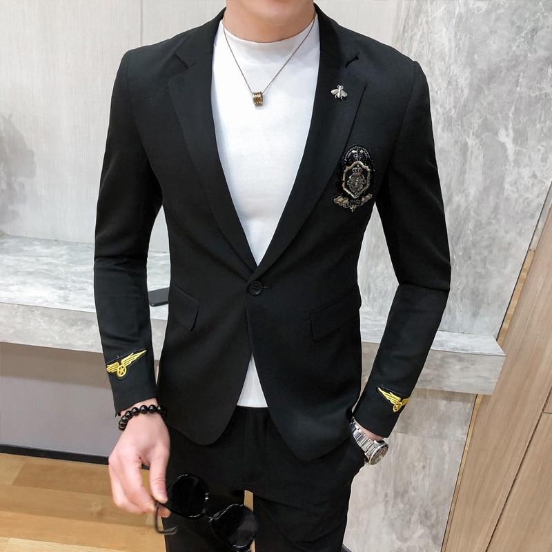 Men Gold Mens Embroidery Blazer Baroque Badge European 2020 Blazer Black Khaki Coat Chaquetas Hombre De Vestir Homens Blazer
