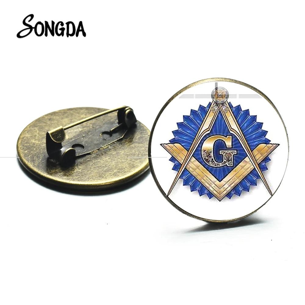Masonic Lapel Pins Badge Mason Freemason  B54 White Round