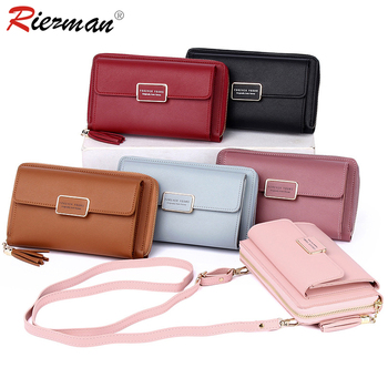 RIEZMAN Fashion Leather Shoulder Crossbody Bag Women Wallet Tassel Big Capacity Zipper Mobile Phone Bag Female Card Holder Purse women bag big capacity female color blocking handbag fashion shoulder bag purse ladies pu leather crossbody bag