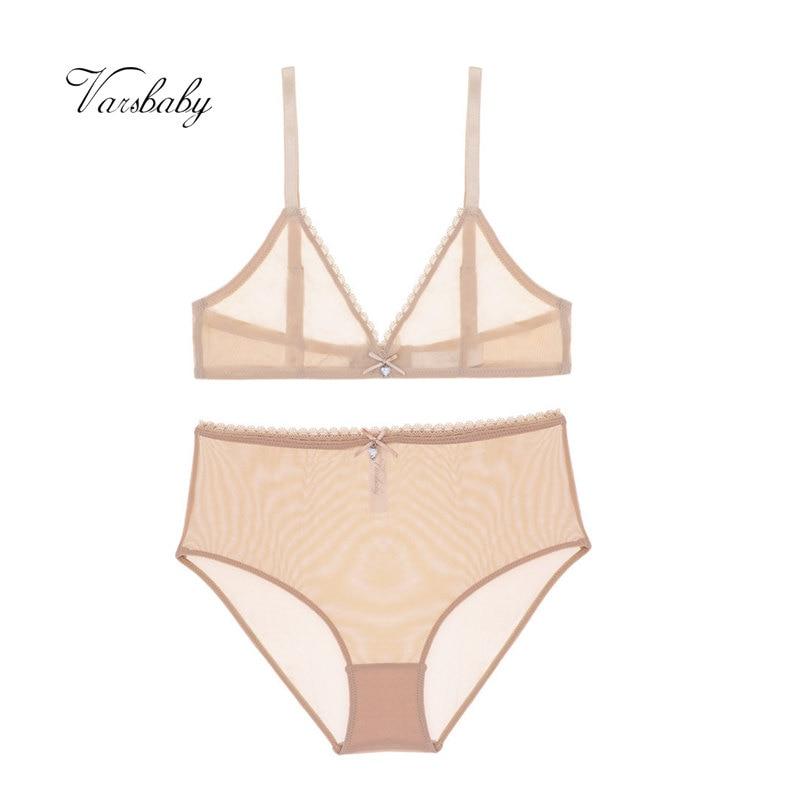 Varsbaby Sexy High-waist Panties Transparent Underwear Unlined Breathable Yarn See-through Bra Set