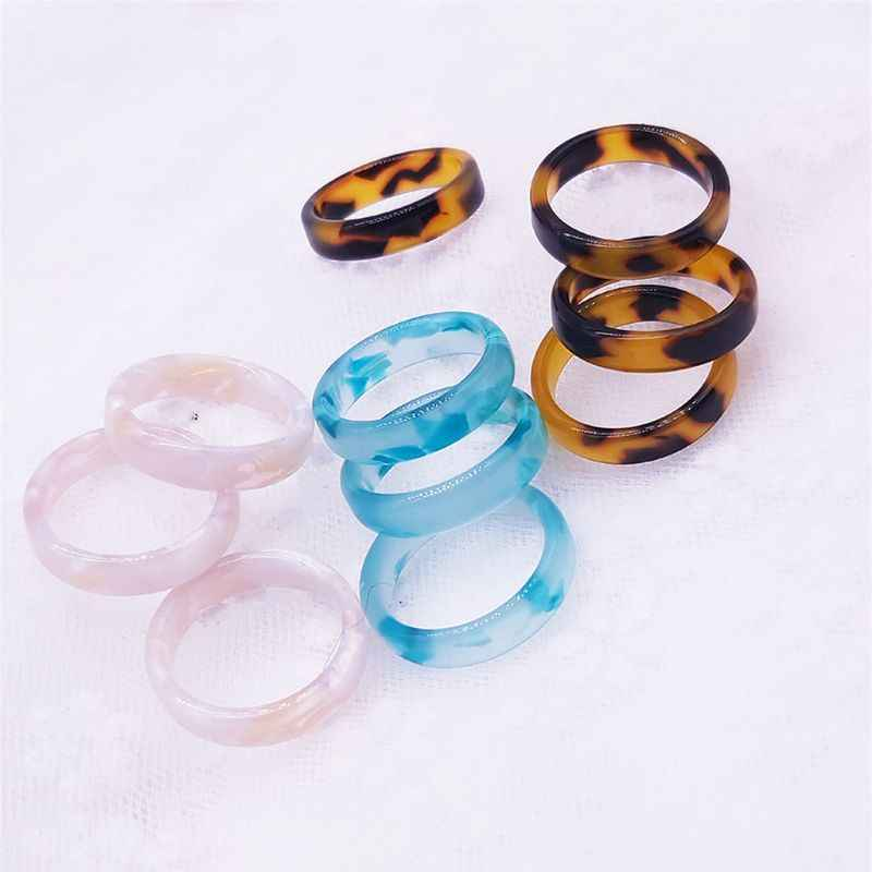 ANGELADY 1PC Brown Acrylic Tortoise Shell Thick Wide Band Ring Fashion Jewelry Unisex