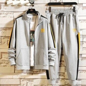 Fashion Winter Sportwear Men Set Hoodies Sportswear Clothing Tracksuit Jacket Pants Sweatshirt Male Sportwear Hommes Coat JJ60NT