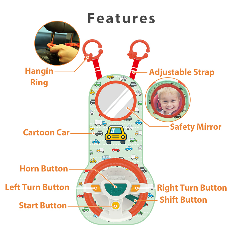 Baby Kids Eletric Simulation Steering Wheel Toy Driving Interactive Musical Educational Car Seat Back For Infant Bebe Boys Girls 5