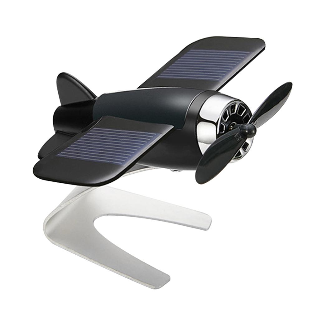 Fashion aluminum Car Auto Styling Solar Energy Rotating Aircraft Airplane Dashboard Decoration Car Interior Accessories Boutique