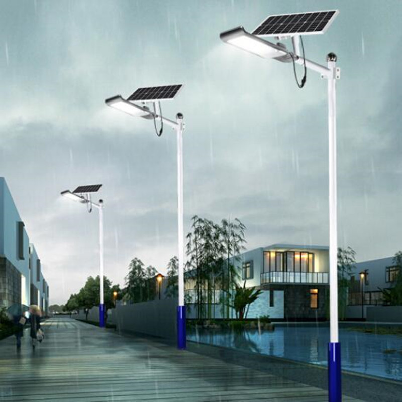 LED Solar Power Street Light Rechargeable Road Lamp Outdoors Solar Lamps Remote Controller+Light Sensor Waterproof Lighting