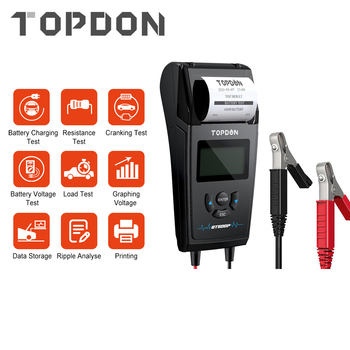 TOPDON BT500P 12V 24V Car Battery Tester with Printer Load Test Charging Cranking for Motorcycle Truck