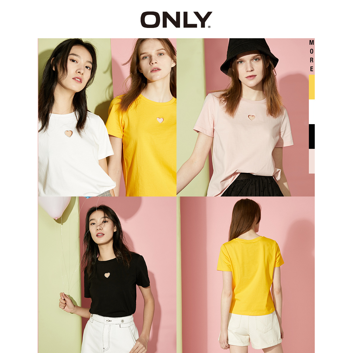 ONLY  Summer 100% Cotton Loose Fit Short-sleeved T-shirt | 120201506