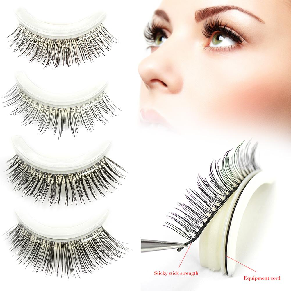 1 Pair Fake Eyelashes Self-Adhesive Reusable Natural Curly Eyelashes Eyelashes Eye Lashes Extension Self-stick Glue Makeup Tools