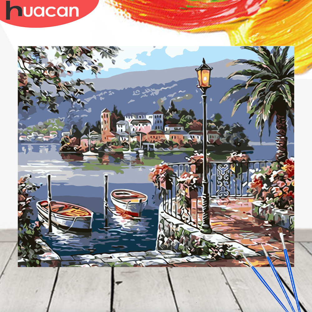 HUACAN Oil Painting Landscape Coloring By Numbers City Acrylic Drawing Canvas Picture Wall Art DIY Home Decor Gift