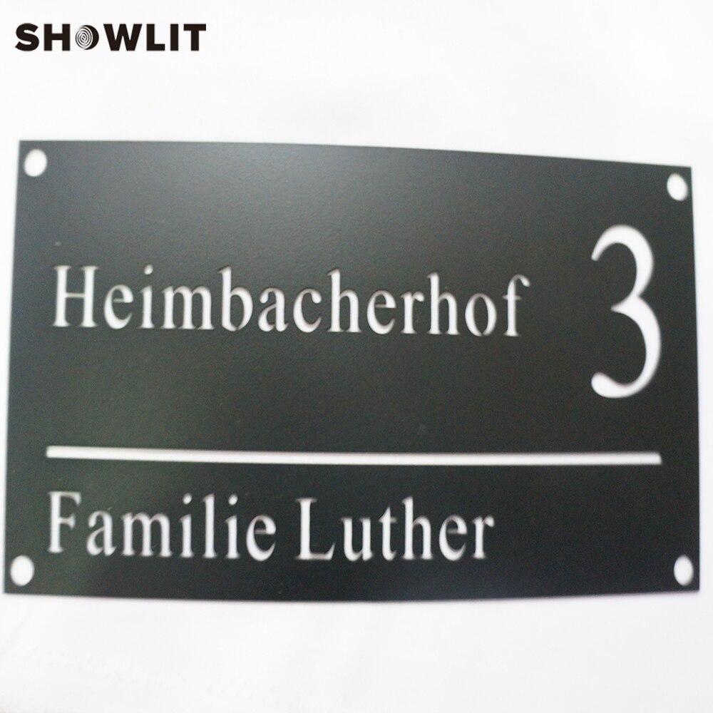 Laser Cut Door Number Plate Modern Design Stainless Steel Door Plate Family Name Plate