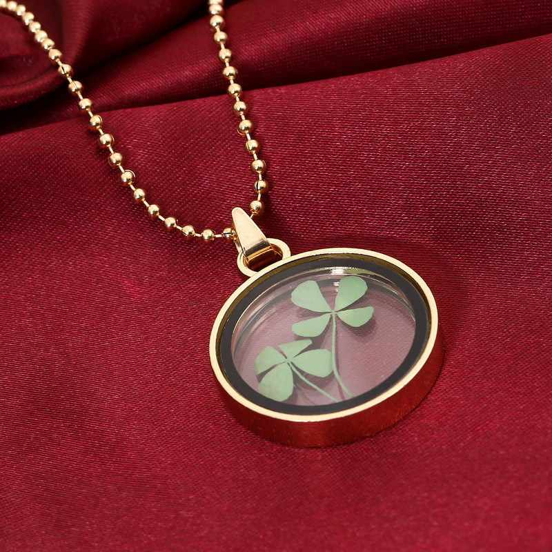 Alami Buatan Tangan Nyata Kering Bunga Beruntung Empat Daun Semanggi Resin Bulat Kaca Liontin Kalung untuk Wanita Perhiasan