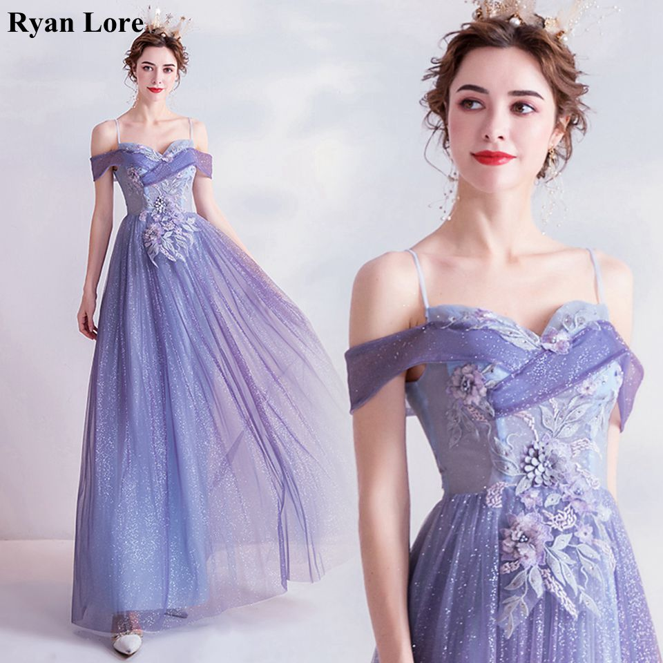Violet Women A-Line Prom Dresses 2020 Elegant Off Shoulder Appliques Formal Long Evening Gowns Tulle Night Party Robe De Soiree