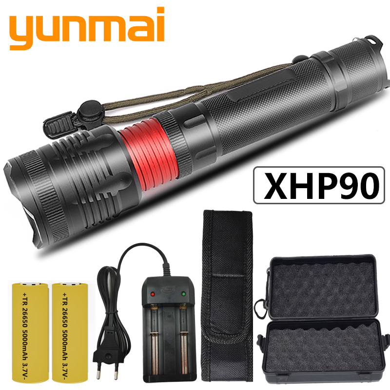 CREE XHP90 32w Powerful Zoom Lens Tactical LED Flashlight Torch New Arrive Original 2* 18650 or 26650 Battery Bulbs Waterproof