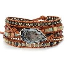 צמידי עור בעבודת יד טבעי אבנים Drusy קסם Multilayers לעטוף צמידי בעבודת יד Boho צמידי מתנות