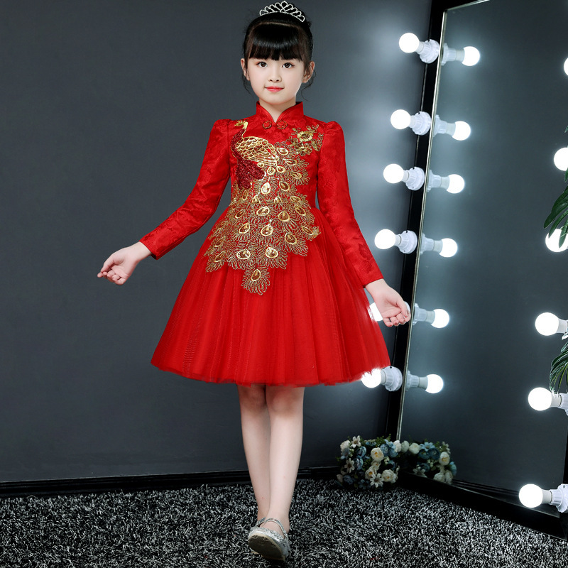 2019 Autumn And Winter Plus Velvet Children Chinese-style Bright Red Peacock Dress Girls Ethnic-Style Cheongsam Evening Gown
